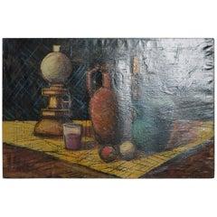 Mid-Century Modern Oil on Canvas Painting Still Life Signed