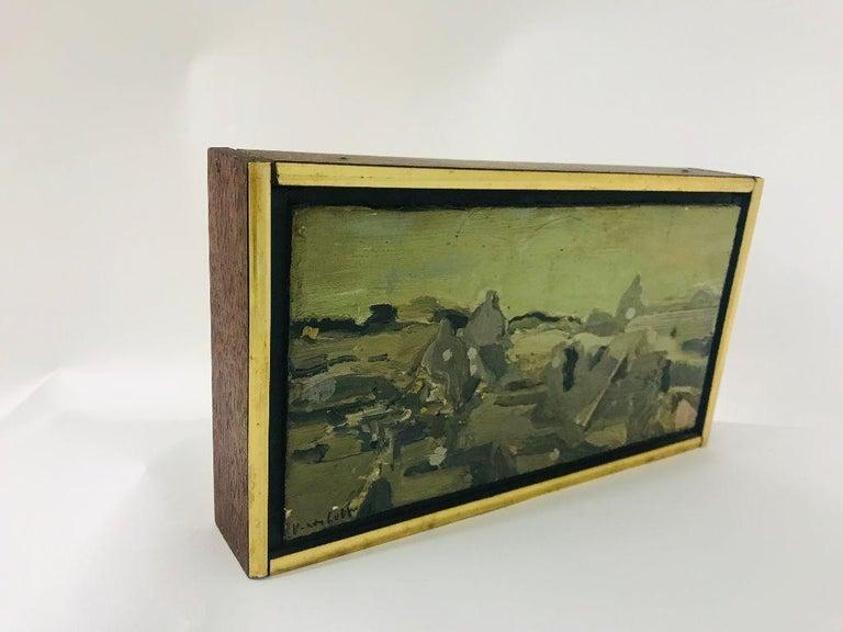 Italian Mid-Century Modern Oil on Canvas Vernon Lobb Listed American Artist