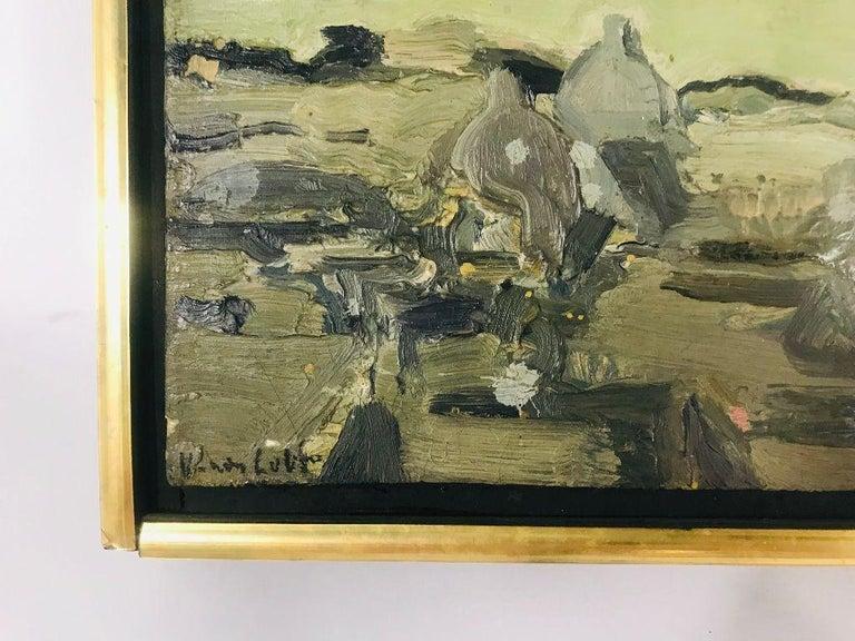 Painted Mid-Century Modern Oil on Canvas Vernon Lobb Listed American Artist