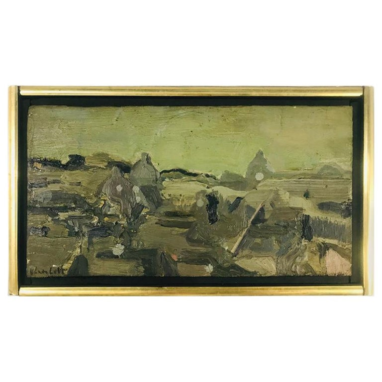 "Mid-Century Modern Oil on Canvas Vernon Lobb Listed American Artist ""Rome"" For Sale"