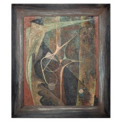 Mid-Century Modern Oil on Masonite, Abstract Painting Signed Worthington