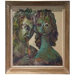 Mid-Century Modern Oil Painting David Garfinkiel Reviere Maternite