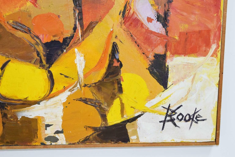 Mid-Century Modern Oil Painting on Canvas, Signed B. Cooke In Good Condition For Sale In Dallas, TX