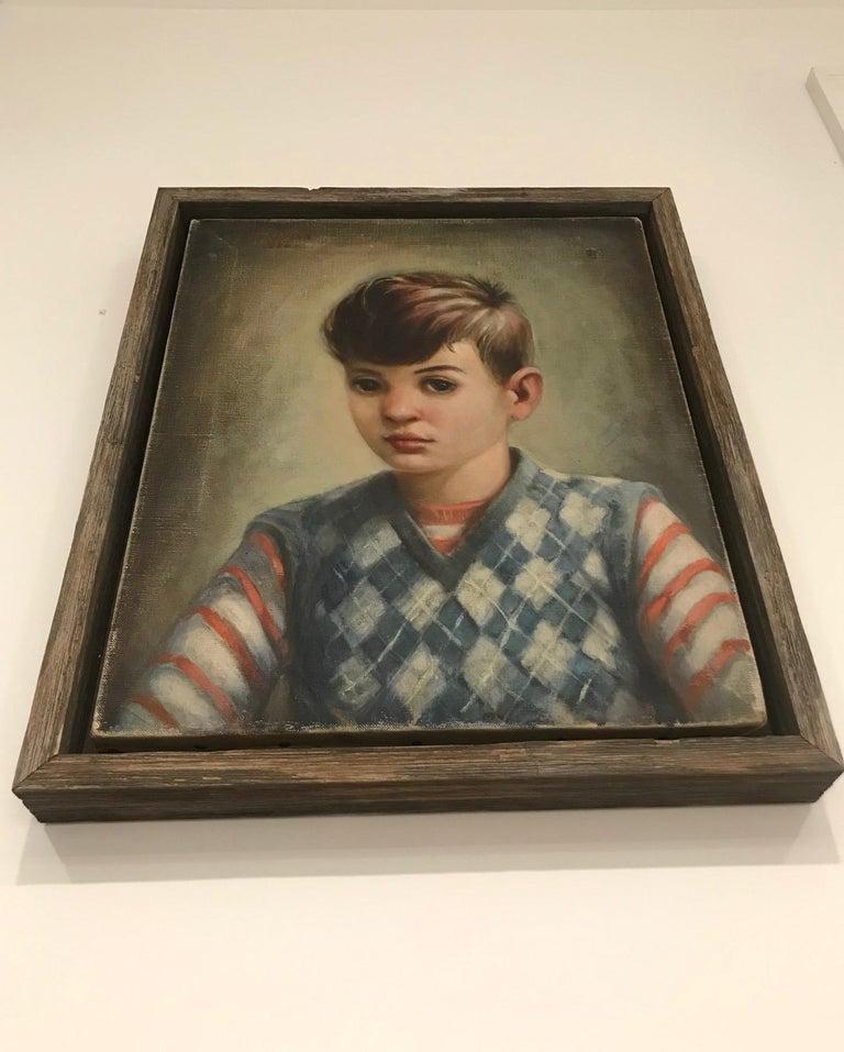 Mid-Century Modern Oil Painting, Portrait of Boy by Robert Rukavina, circa 1948 For Sale 3