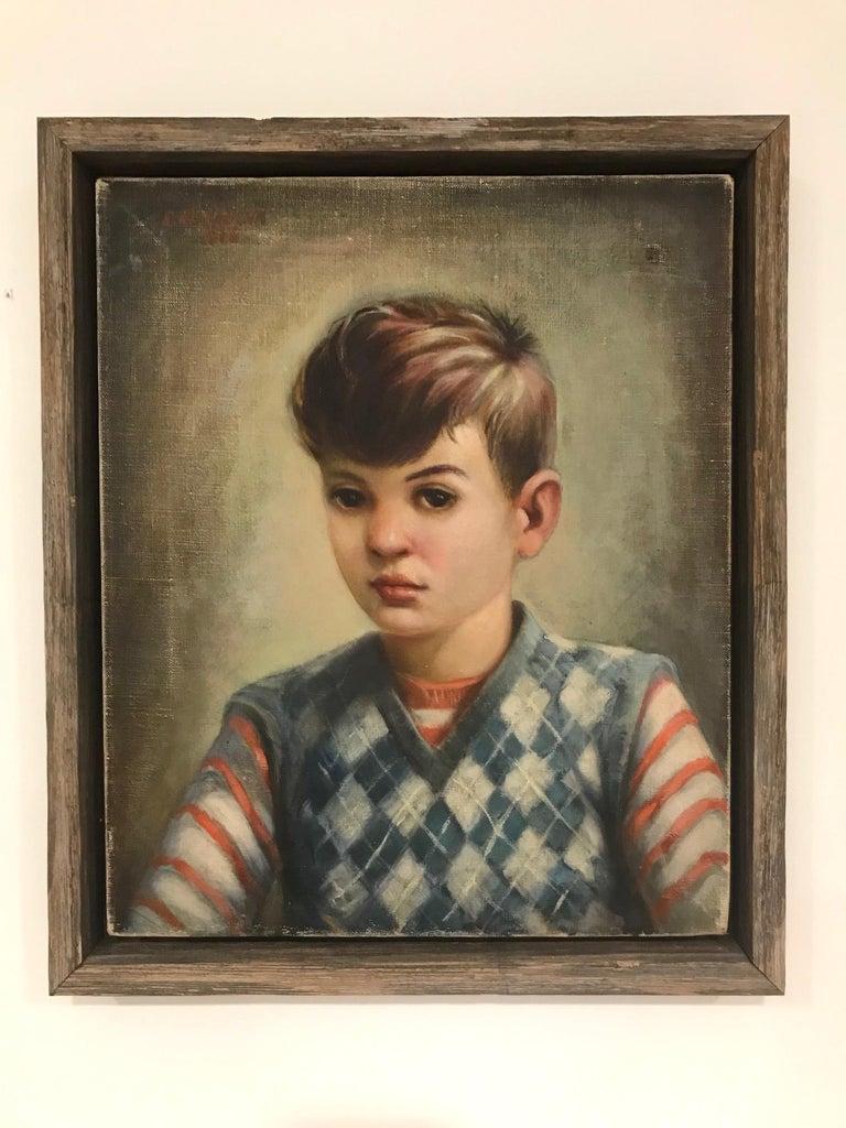 Mid-Century Modern Oil Painting, Portrait of Boy by Robert Rukavina, circa 1948 For Sale 4