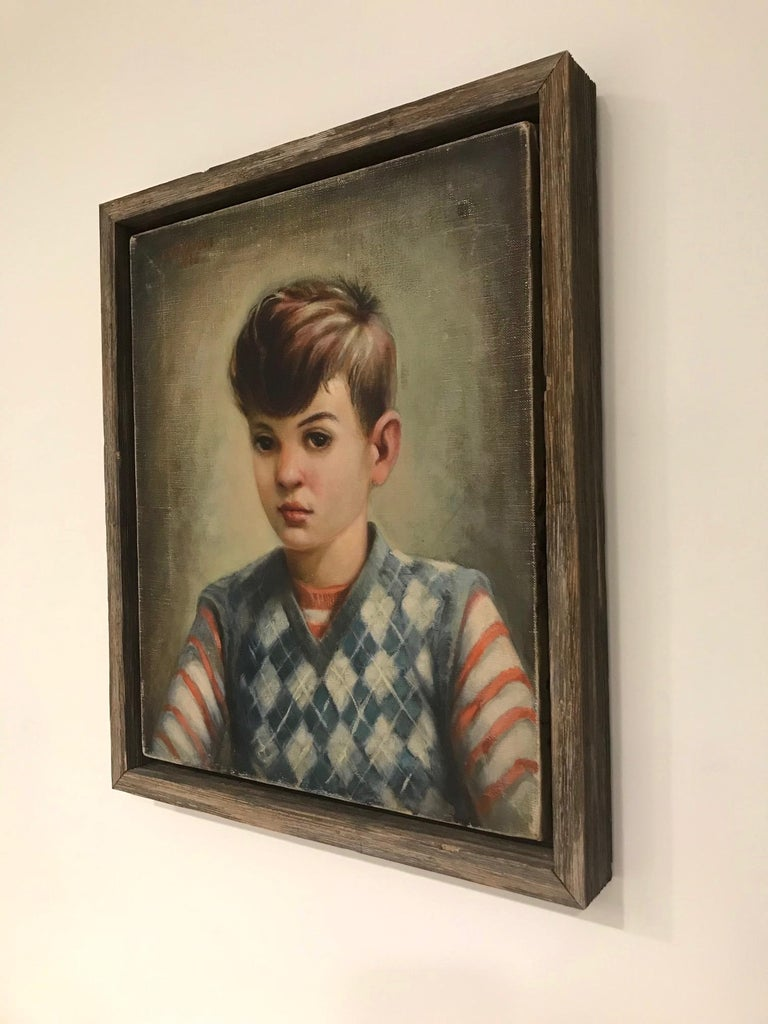 American Mid-Century Modern Oil Painting, Portrait of Boy by Robert Rukavina, circa 1948 For Sale