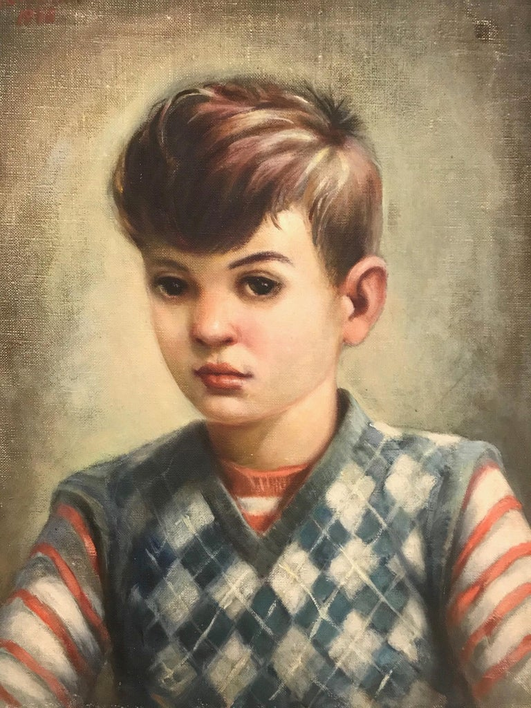 Hand-Crafted Mid-Century Modern Oil Painting, Portrait of Boy by Robert Rukavina, circa 1948 For Sale