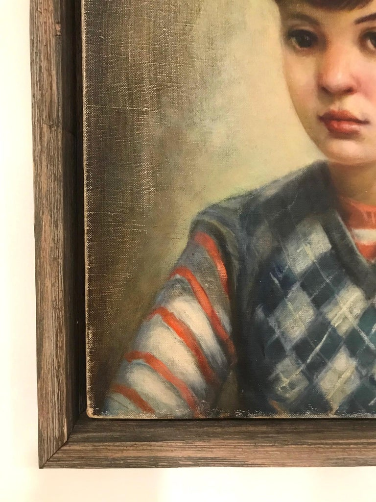 Mid-Century Modern Oil Painting, Portrait of Boy by Robert Rukavina, circa 1948 In Good Condition For Sale In Fort Lauderdale, FL