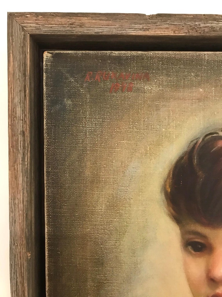 Reclaimed Wood Mid-Century Modern Oil Painting, Portrait of Boy by Robert Rukavina, circa 1948 For Sale