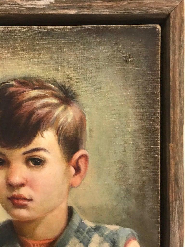 Mid-Century Modern Oil Painting, Portrait of Boy by Robert Rukavina, circa 1948 For Sale 1