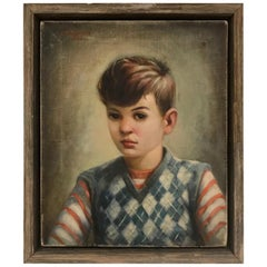 Mid-Century Modern Oil Painting, Portrait of Boy by Robert Rukavina, circa 1948