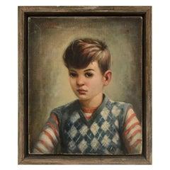 Mid-Century Modern Oil Painting, Portrait of Boy by Robert Rukavina, circa 1948