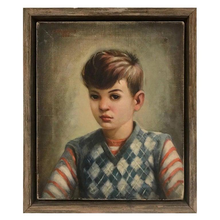 Mid-Century Modern Oil Painting, Portrait of Boy by Robert Rukavina, circa 1948 For Sale