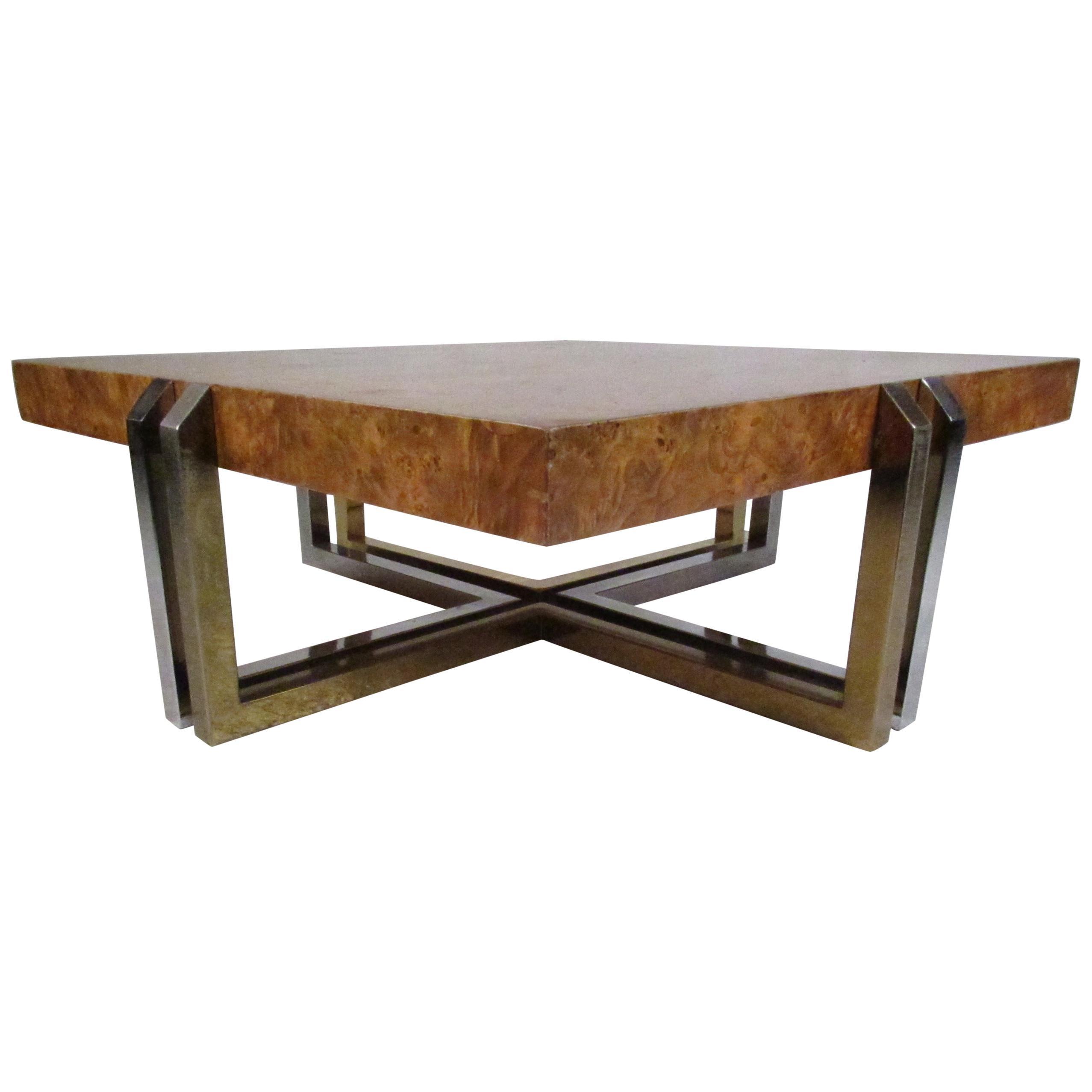 Mid-Century Modern Olive Burl Coffee Table