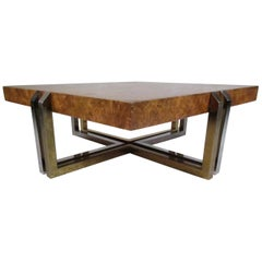 Mid-Century Modern Olive Burl Coffee Table