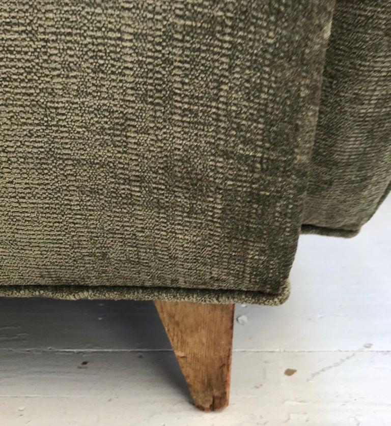 Late 20th Century Mid-Century Modern Olive Green Velveteen Upholstered Danish Lounge Chair For Sale