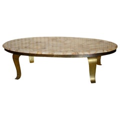 Mid-Century Modern Onyx and Brass Coffee Table