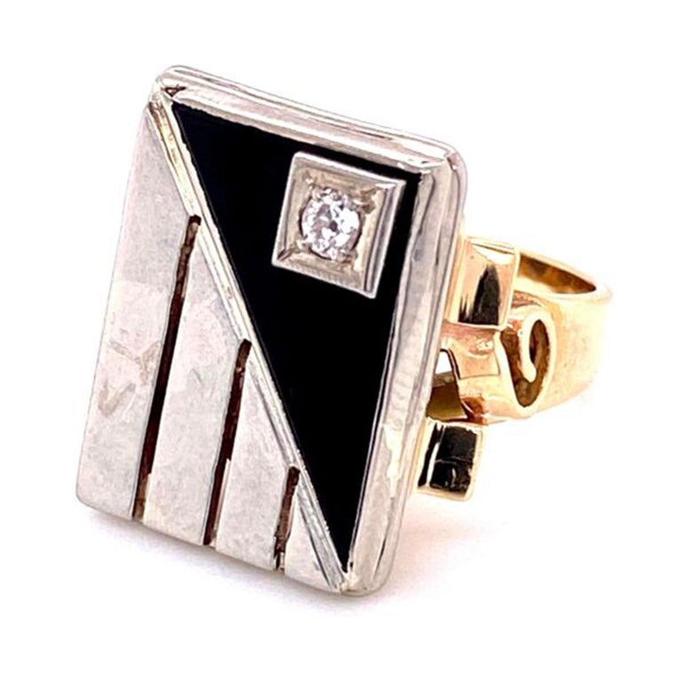 Women's or Men's Mid-Century Modern Onyx and Diamond 2-Tone Gold Tablet Ring Fine Estate Jewelry For Sale