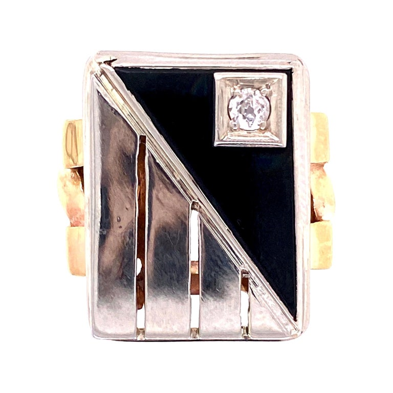 Mid-Century Modern Onyx and Diamond 2-Tone Gold Tablet Ring Fine Estate Jewelry For Sale