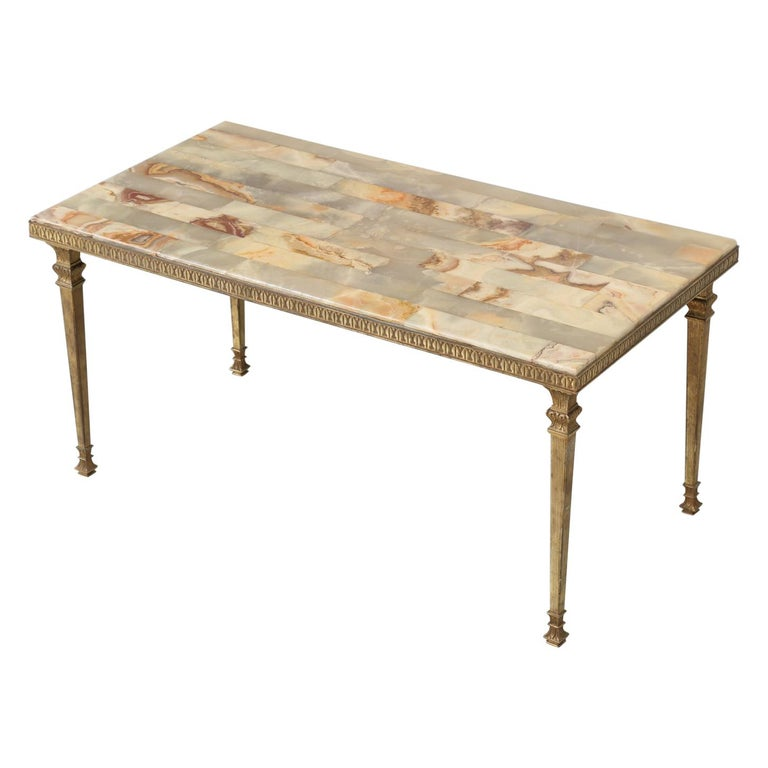 Mid-Century Modern Onyx Coffee Table from France For Sale