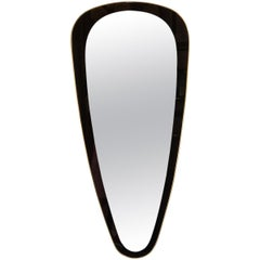 Mid-Century Modern Onyx Painted Reverse Églomisé Brass Wrapped Oval Mirror