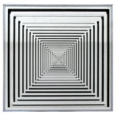 Mid-Century Modern Op Pop Art Square Wall Mirror Silver, 1970s