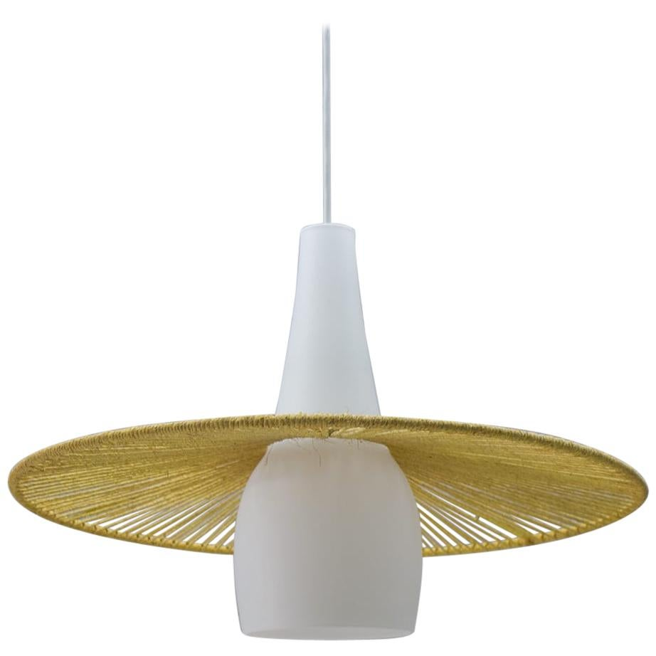 Mid-Century Modern Opaline Glass and Jute String Ceiling Lamp, 1950s