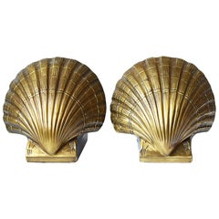 Mid-Century Modern or Hollywood Regency Brass Shell Bookends, a Pair