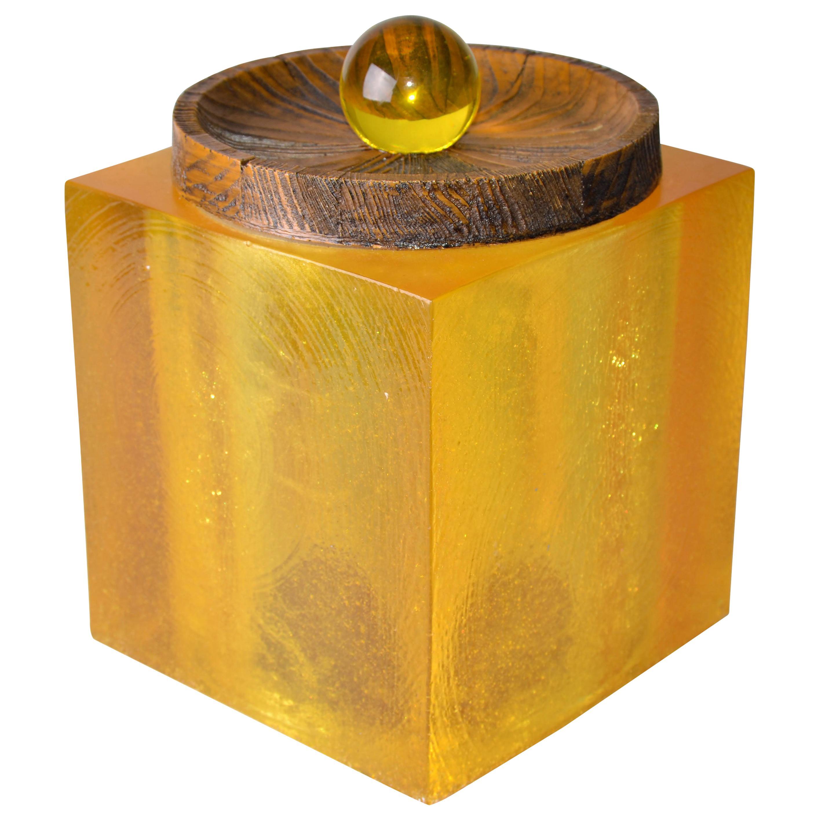 Mid-Century Modern Amber Color Acrylic Cork and Wood Ice Bucket