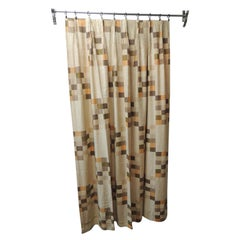 Mid-Century Modern Orange and Brown Squares Pattern Drapery Panel