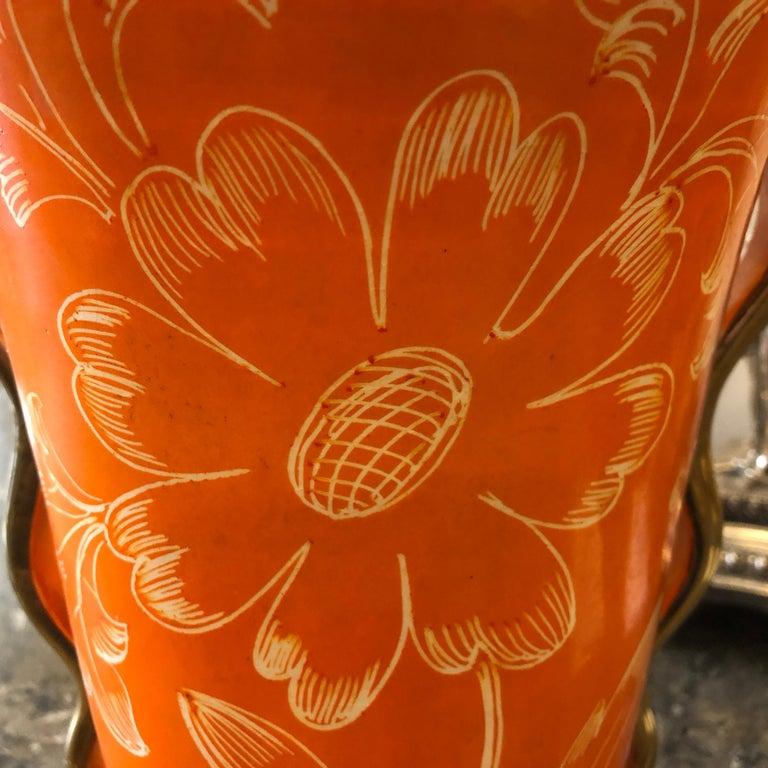 Mid-Century Modern Orange Ceramic Italian Vase, circa 1950 For Sale 6