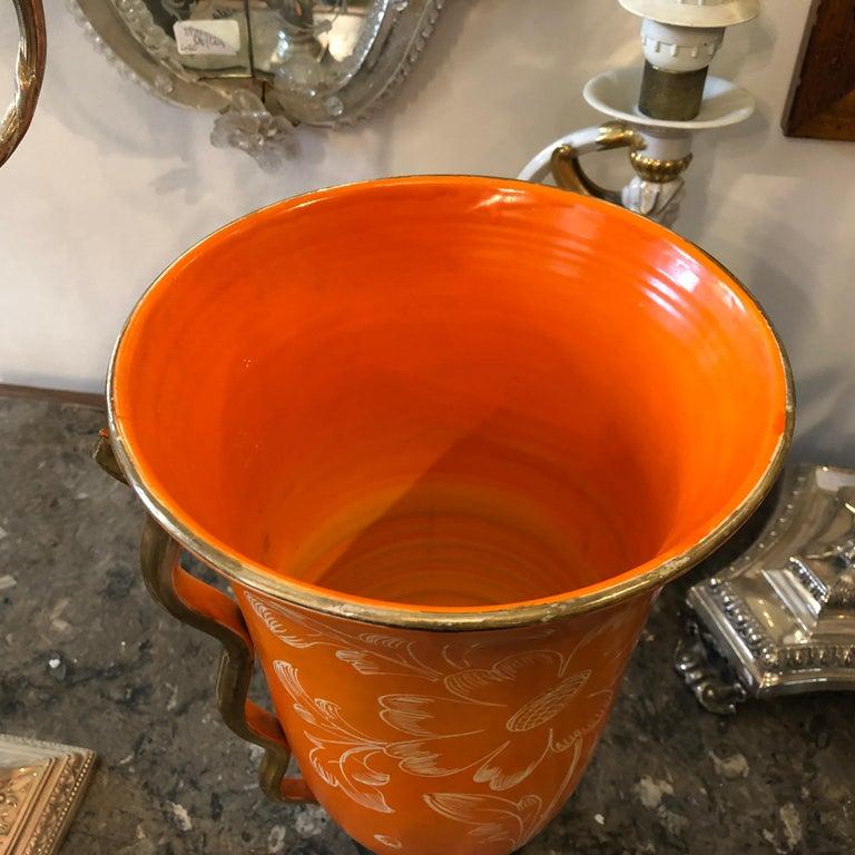 Hand-Painted Mid-Century Modern Orange Ceramic Italian Vase, circa 1950 For Sale