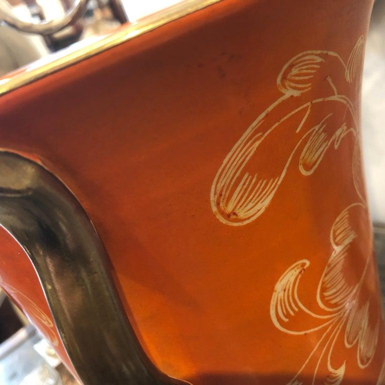 Mid-Century Modern Orange Ceramic Italian Vase, circa 1950 For Sale 2