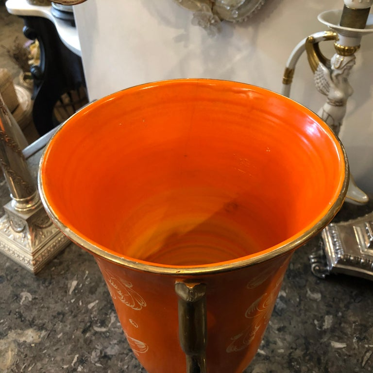 Mid-Century Modern Orange Ceramic Italian Vase, circa 1950 For Sale 3