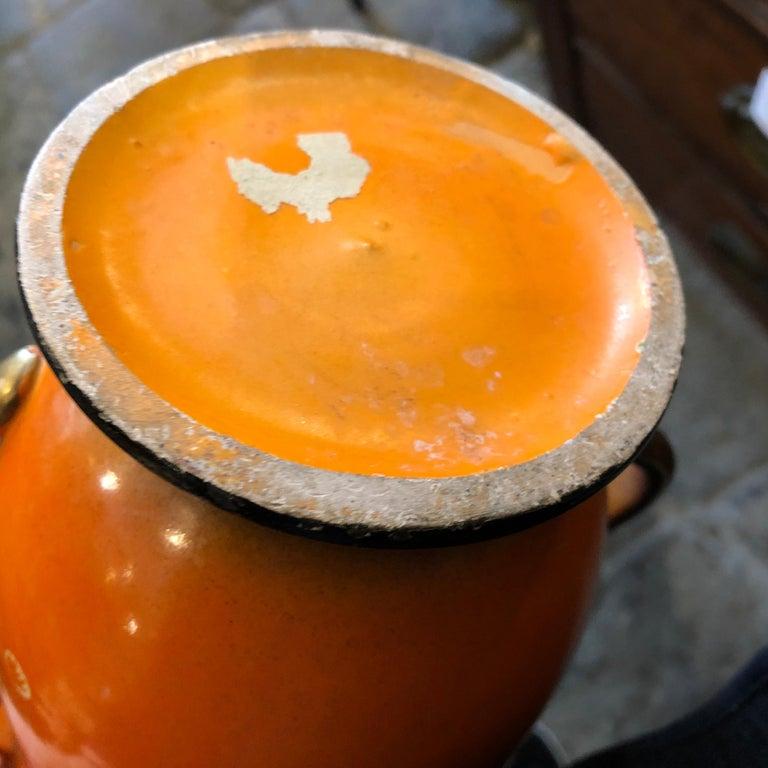Mid-Century Modern Orange Ceramic Italian Vase, circa 1950 For Sale 4