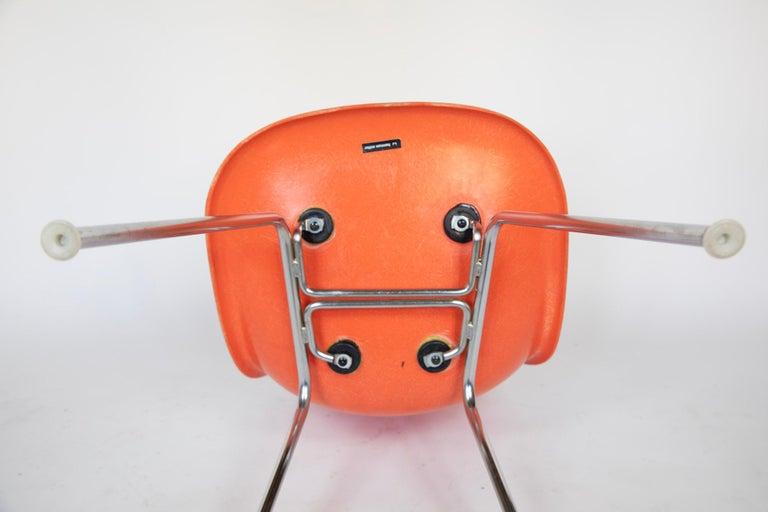 Mid-Century Modern Orange Fiberglass Shell Side Chairs, Eames, USA, 1970s For Sale 4