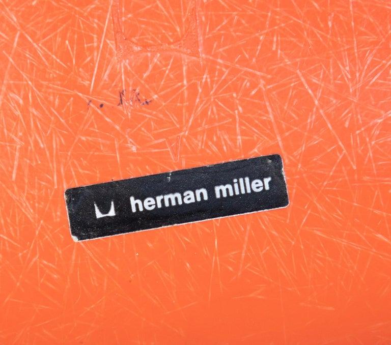Mid-Century Modern Orange Fiberglass Shell Side Chairs, Eames, USA, 1970s For Sale 5