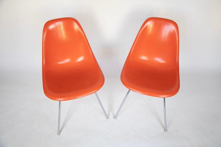 American Mid-Century Modern Orange Fiberglass Shell Side Chairs, Eames, USA, 1970s For Sale