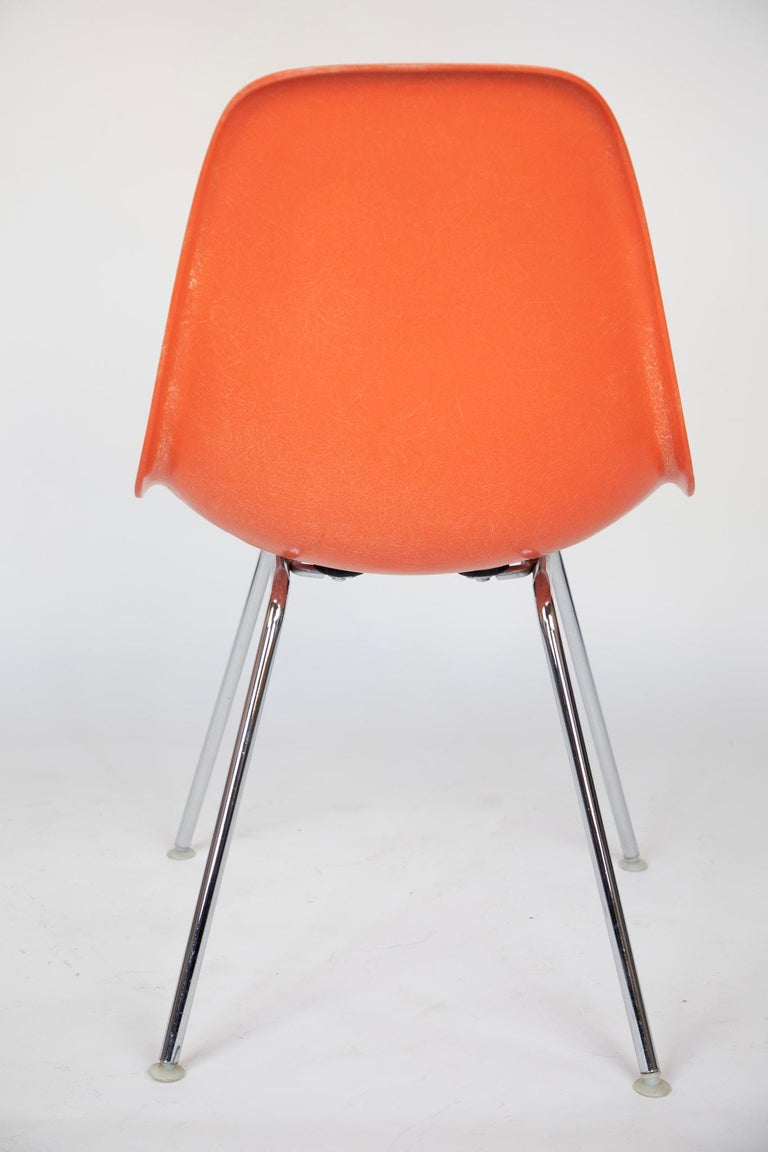 Mid-20th Century Mid-Century Modern Orange Fiberglass Shell Side Chairs, Eames, USA, 1970s For Sale