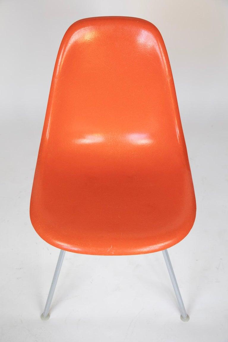 Chrome Mid-Century Modern Orange Fiberglass Shell Side Chairs, Eames, USA, 1970s For Sale