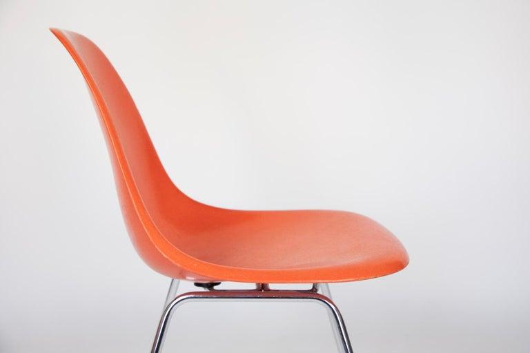 Mid-Century Modern Orange Fiberglass Shell Side Chairs, Eames, USA, 1970s For Sale 2