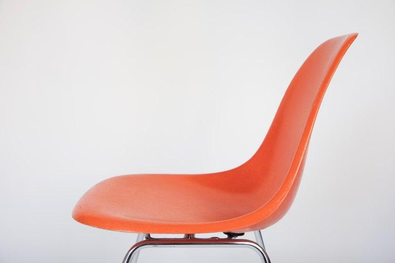 Mid-Century Modern Orange Fiberglass Shell Side Chairs, Eames, USA, 1970s For Sale 3