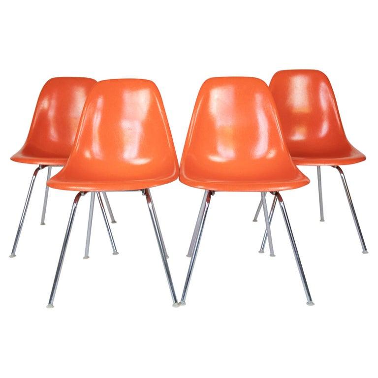 Mid-Century Modern Orange Fiberglass Shell Side Chairs, Eames, USA, 1970s For Sale