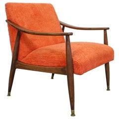 Mid-Century Modern Orange Walnut Open Arm Lounge Chair