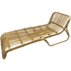 Mid-Century Modern Organic Bamboo and Rattan Chaise Lounge Lounges