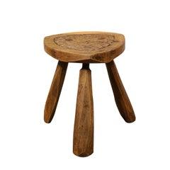 Mid-Century Modern Organic Brutalist Amorphic Hand Carved Walnut Stool