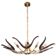 Mid-Century Modern Organic Ebonized Walnut and Brass Chandelier