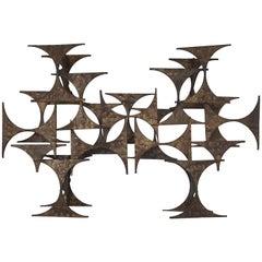 Mid-Century Modern Original Brutalist Metal Sculpture in the Style of Paul Evans