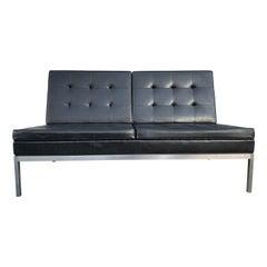 Mid-Century Modern Original Florence Knoll Loveseat 2-Seat Black Vinyl Sofa
