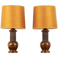 Mid-Century Modern Original Italian Bitossi Copper Lamps